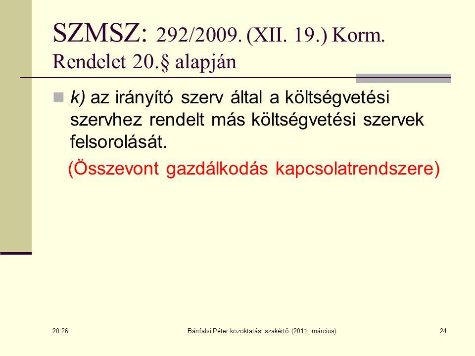 k) az irányító szerv által a költségvetési szervhez rendelt más költségvetési szervek felsorolását. (Összevont gazdálkodás kapcsolatrendszere) 20:28 B