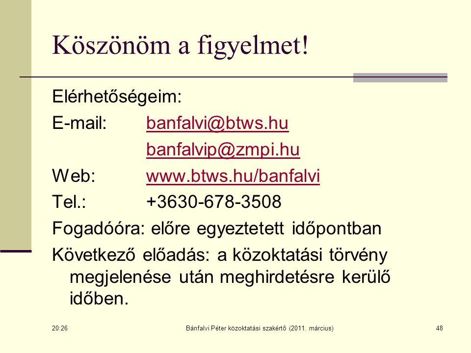 48 Köszönöm a figyelmet! Elérhetőségeim: E-mail: banfalvi@btws.hubanfalvi@btws.hu banfalvip@zmpi.hu Web: www.btws.hu/banfalviwww.btws.hu/banfalvi Tel.