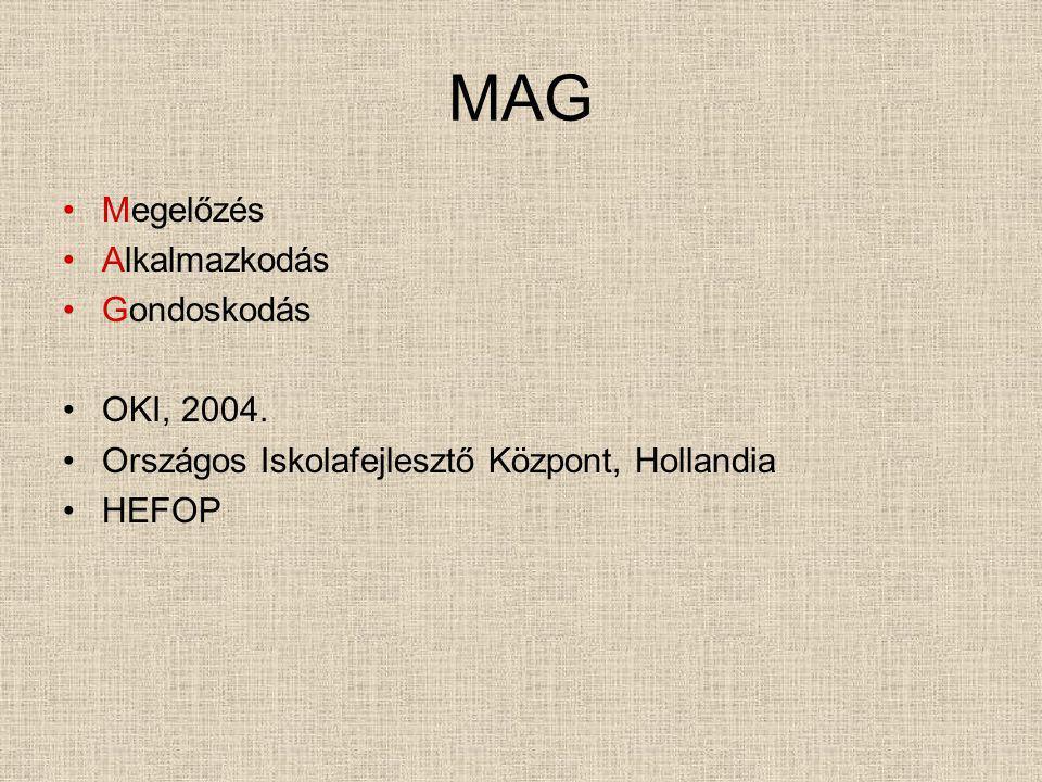 MAG Megelőzés Alkalmazkodás Gondoskodás OKI, 2004. Országos Iskolafejlesztő Központ, Hollandia HEFOP