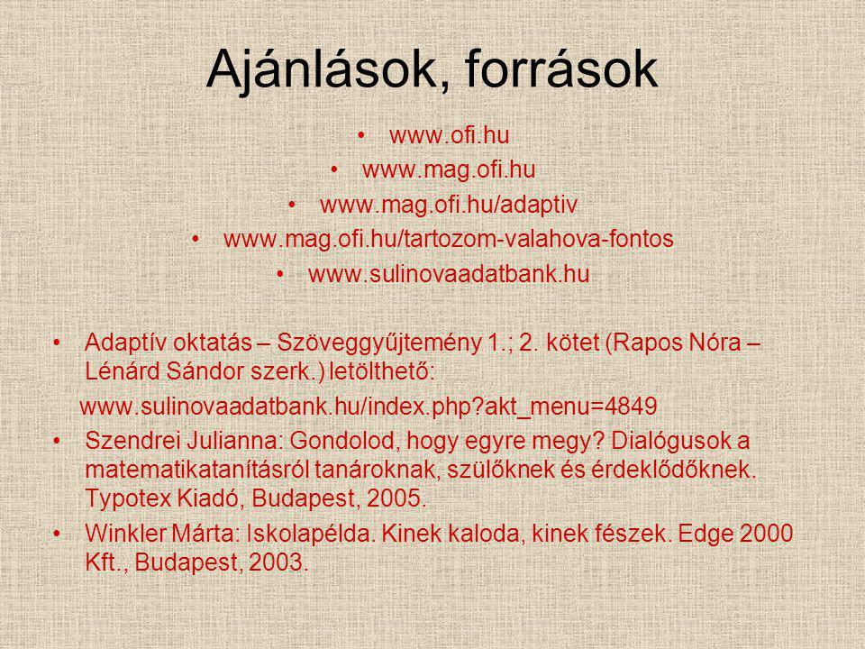 Ajánlások, források www.ofi.hu www.mag.ofi.hu www.mag.ofi.hu/adaptiv www.mag.ofi.hu/tartozom-valahova-fontos www.sulinovaadatbank.hu Adaptív oktatás –