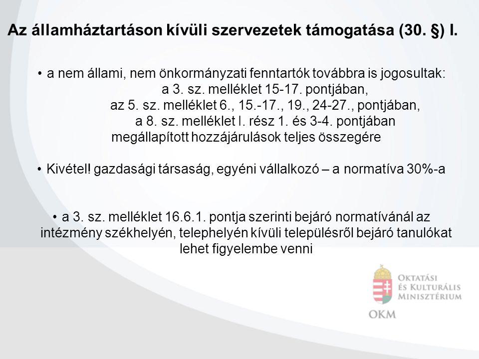 Az államháztartáson kívüli szervezetek támogatása (30.