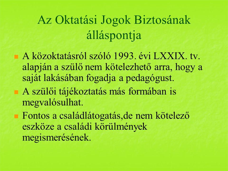 Az Oktatási Jogok Biztosának álláspontja A közoktatásról szóló 1993.