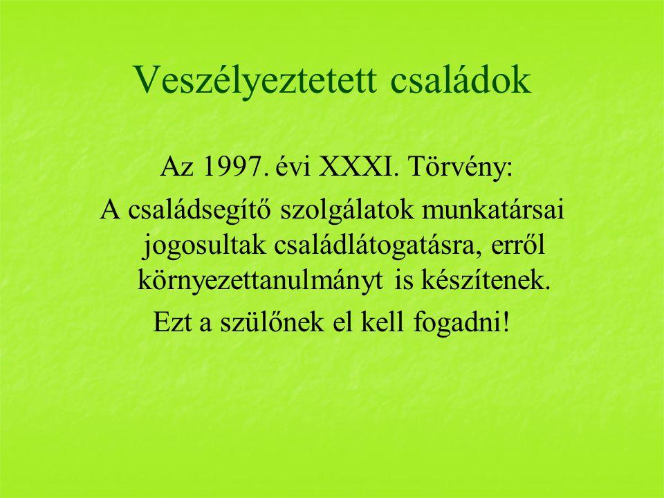 Veszélyeztetett családok Az 1997. évi XXXI.