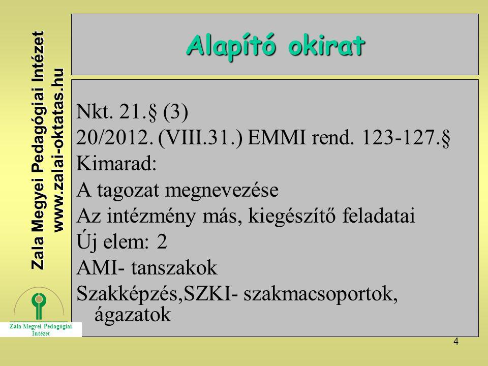 4 Alapító okirat Nkt. 21.§ (3) 20/2012. (VIII.31.) EMMI rend.