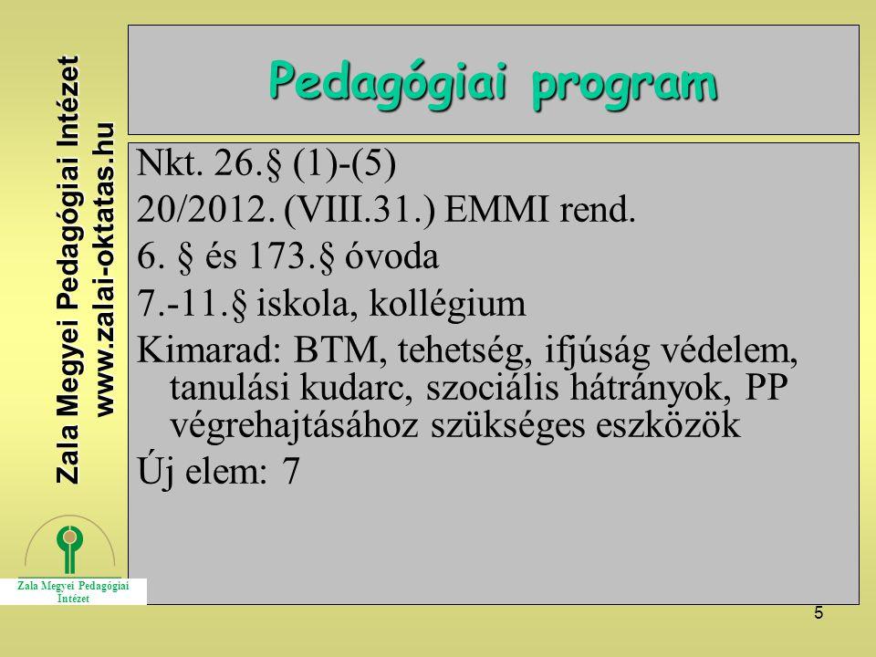 5 Pedagógiai program Nkt. 26.§ (1)-(5) 20/2012. (VIII.31.) EMMI rend.