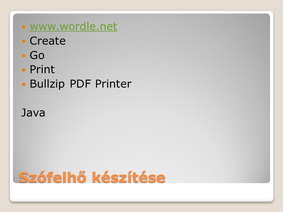 Szófelhő készítése www.wordle.net Create Go Print Bullzip PDF Printer Java