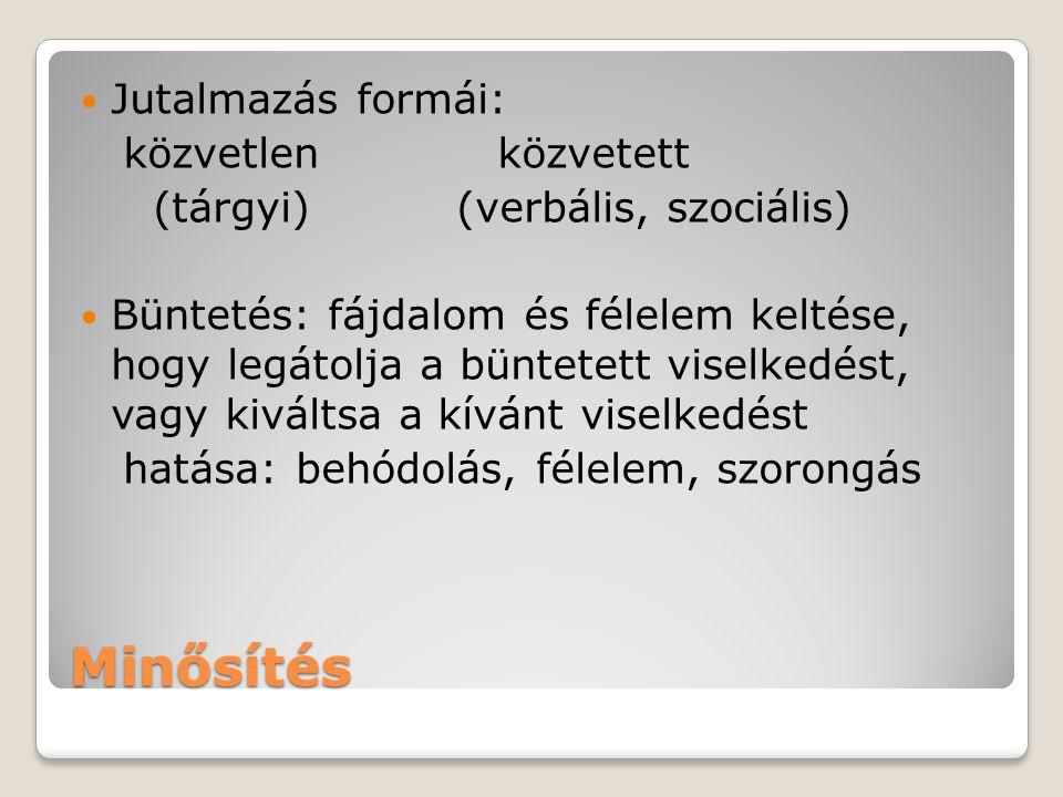 Minősítés Jutalmazás formái: közvetlen közvetett (tárgyi) (verbális, szociális) Büntetés: fájdalom és félelem keltése, hogy legátolja a büntetett vise