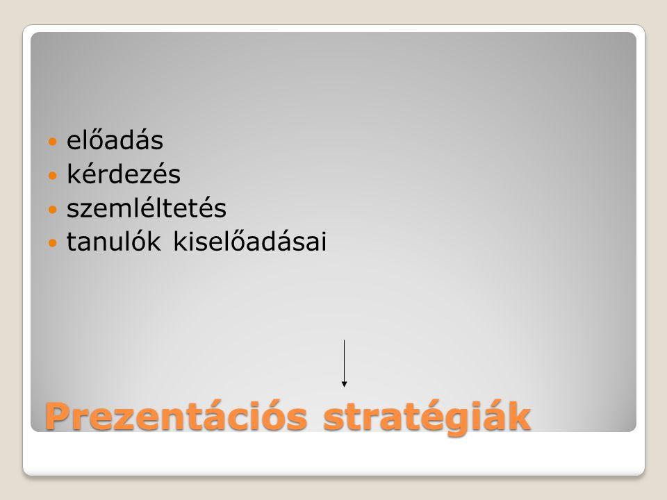 Prezentációs stratégiák előadás kérdezés szemléltetés tanulók kiselőadásai