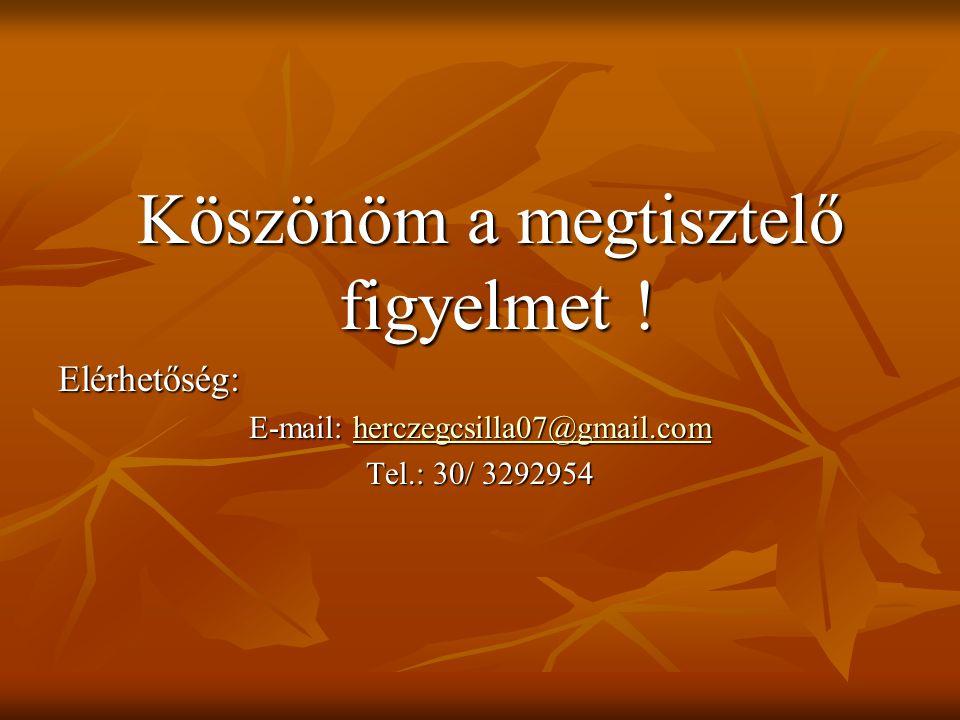 Köszönöm a megtisztelő figyelmet ! Köszönöm a megtisztelő figyelmet !Elérhetőség: E-mail: herczegcsilla07@gmail.com herczegcsilla07@gmail.com Tel.: 30
