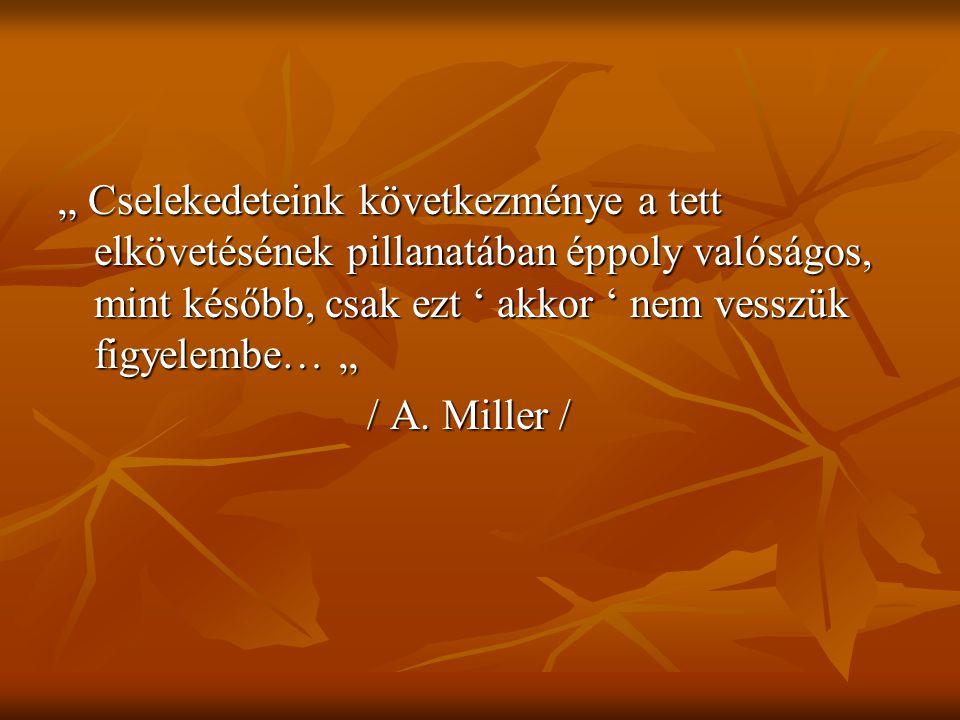 """"""" Cselekedeteink következménye a tett elkövetésének pillanatában éppoly valóságos, mint később, csak ezt ' akkor ' nem vesszük figyelembe… """" / A. Mill"""