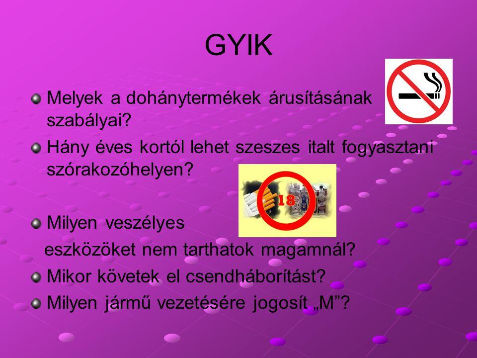 GYIK Melyek a dohánytermékek árusításának szabályai? Hány éves kortól lehet szeszes italt fogyasztani szórakozóhelyen? Milyen veszélyes eszközöket nem