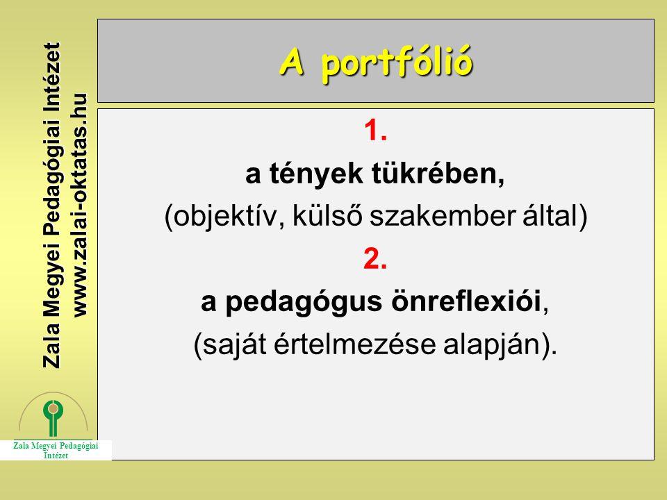 A portfólió 1. a tények tükrében, (objektív, külső szakember által) 2. a pedagógus önreflexiói, (saját értelmezése alapján). Zala Megyei Pedagógiai In