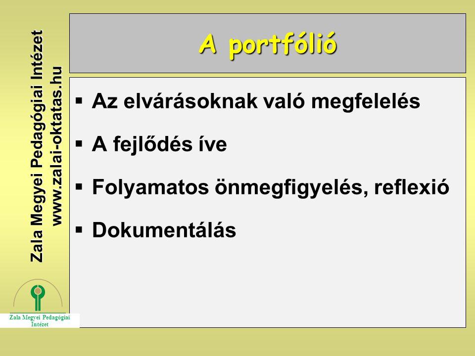 A portfólió  Az elvárásoknak való megfelelés  A fejlődés íve  Folyamatos önmegfigyelés, reflexió  Dokumentálás Zala Megyei Pedagógiai Intézet www.