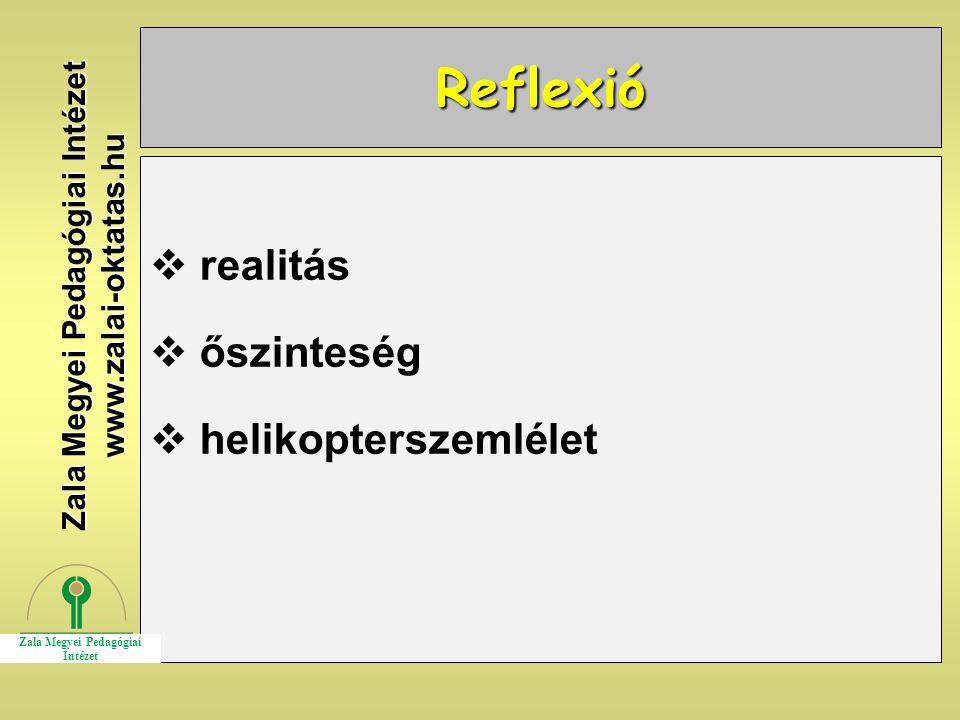 Reflexió  realitás  őszinteség  helikopterszemlélet Zala Megyei Pedagógiai Intézet www.zalai-oktatas.hu