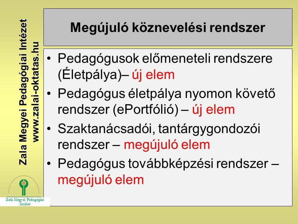 Megújuló köznevelési rendszer Pedagógusok előmeneteli rendszere (Életpálya)– új elem Pedagógus életpálya nyomon követő rendszer (ePortfólió) – új elem