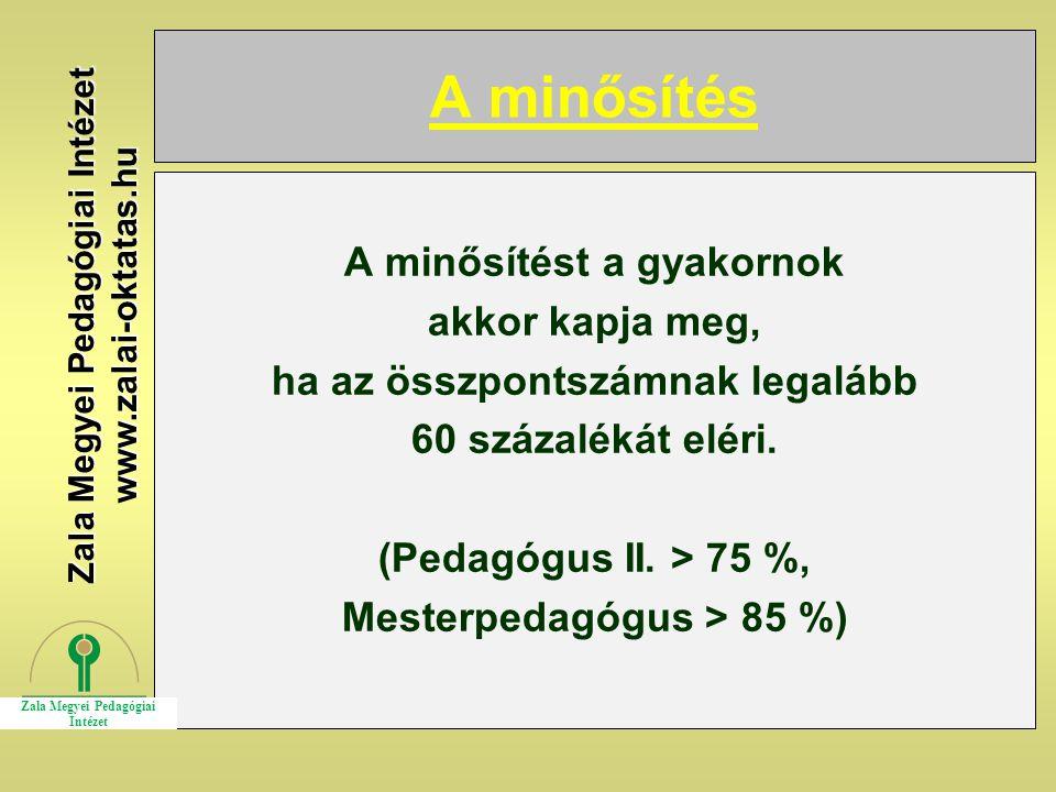 A minősítés A minősítést a gyakornok akkor kapja meg, ha az összpontszámnak legalább 60 százalékát eléri. (Pedagógus II. > 75 %, Mesterpedagógus > 85