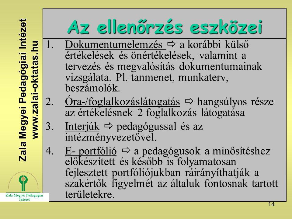 14 Az ellenőrzés eszközei 1.Dokumentumelemzés  a korábbi külső értékelések és önértékelések, valamint a tervezés és megvalósítás dokumentumainak vizsgálata.