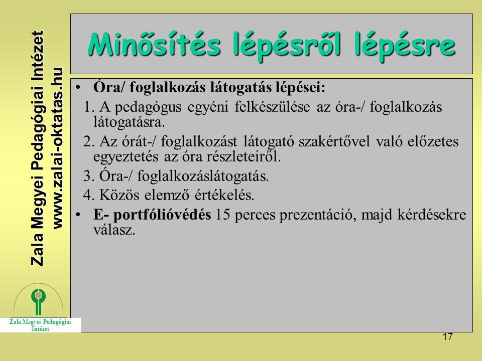 17 Minősítés lépésről lépésre Óra/ foglalkozás látogatás lépései: 1.