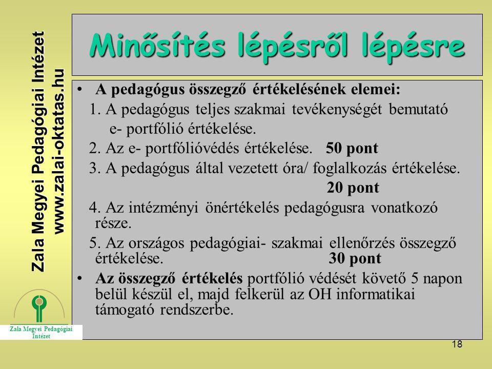 18 Minősítés lépésről lépésre A pedagógus összegző értékelésének elemei: 1. A pedagógus teljes szakmai tevékenységét bemutató e- portfólió értékelése.