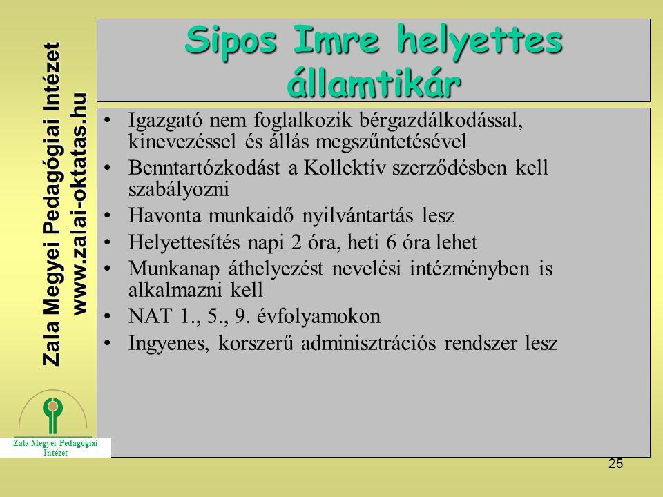 25 Sipos Imre helyettes államtikár Igazgató nem foglalkozik bérgazdálkodással, kinevezéssel és állás megszűntetésével Benntartózkodást a Kollektív sze