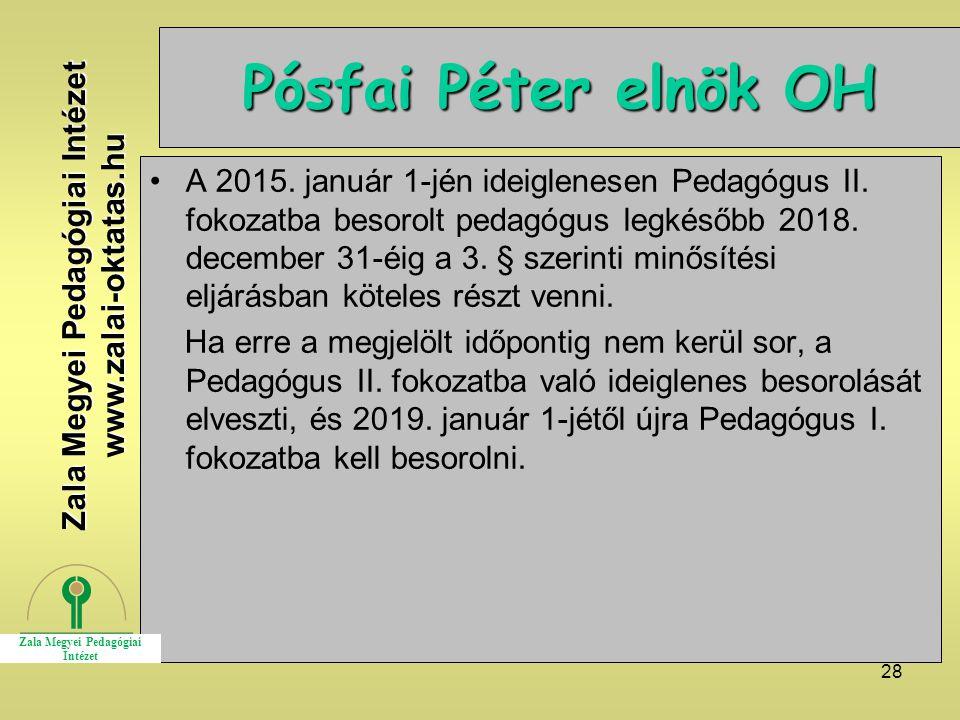 28 Pósfai Péter elnök OH A 2015. január 1-jén ideiglenesen Pedagógus II. fokozatba besorolt pedagógus legkésőbb 2018. december 31-éig a 3. § szerinti