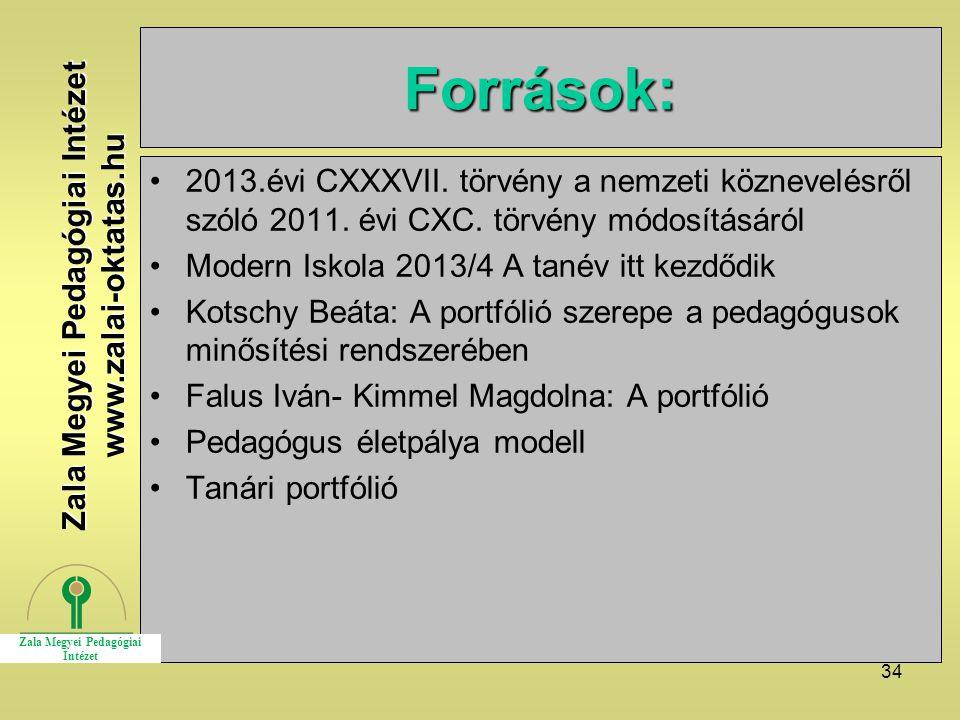 34 Források: 2013.évi CXXXVII. törvény a nemzeti köznevelésről szóló 2011. évi CXC. törvény módosításáról Modern Iskola 2013/4 A tanév itt kezdődik Ko