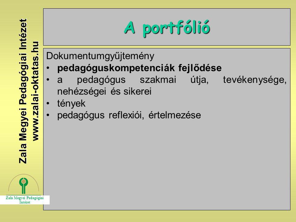 14 A portfólió Dokumentumgyűjtemény pedagóguskompetenciák fejlődése a pedagógus szakmai útja, tevékenysége, nehézségei és sikerei tények pedagógus ref