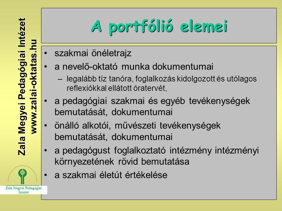 15 A portfólió elemei szakmai önéletrajz a nevelő-oktató munka dokumentumai –legalább tíz tanóra, foglalkozás kidolgozott és utólagos reflexiókkal ell