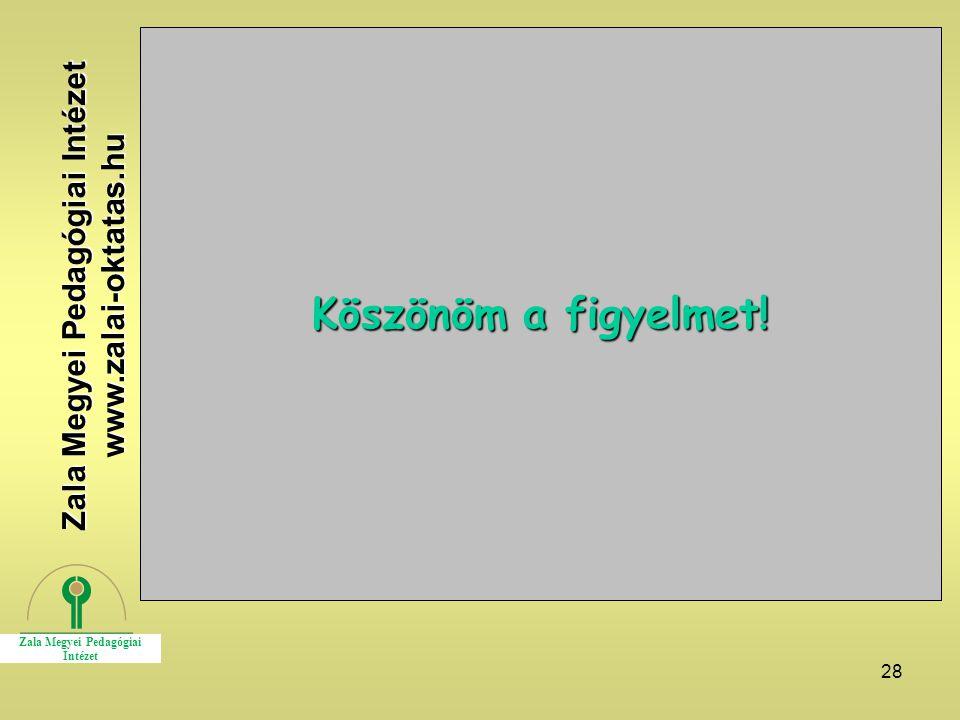 28 Köszönöm a figyelmet! Zala Megyei Pedagógiai Intézet www.zalai-oktatas.hu