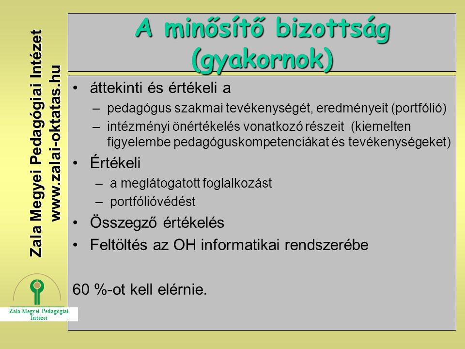 8 A minősítő bizottság (gyakornok) áttekinti és értékeli a –pedagógus szakmai tevékenységét, eredményeit (portfólió) –intézményi önértékelés vonatkozó