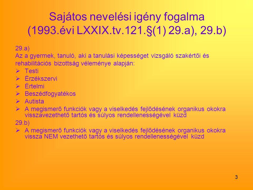 3 Sajátos nevelési igény fogalma (1993.évi LXXIX.tv.121.§(1) 29.a), 29.b) 29.a) Az a gyermek, tanuló, aki a tanulási képességet vizsgáló szakértői és