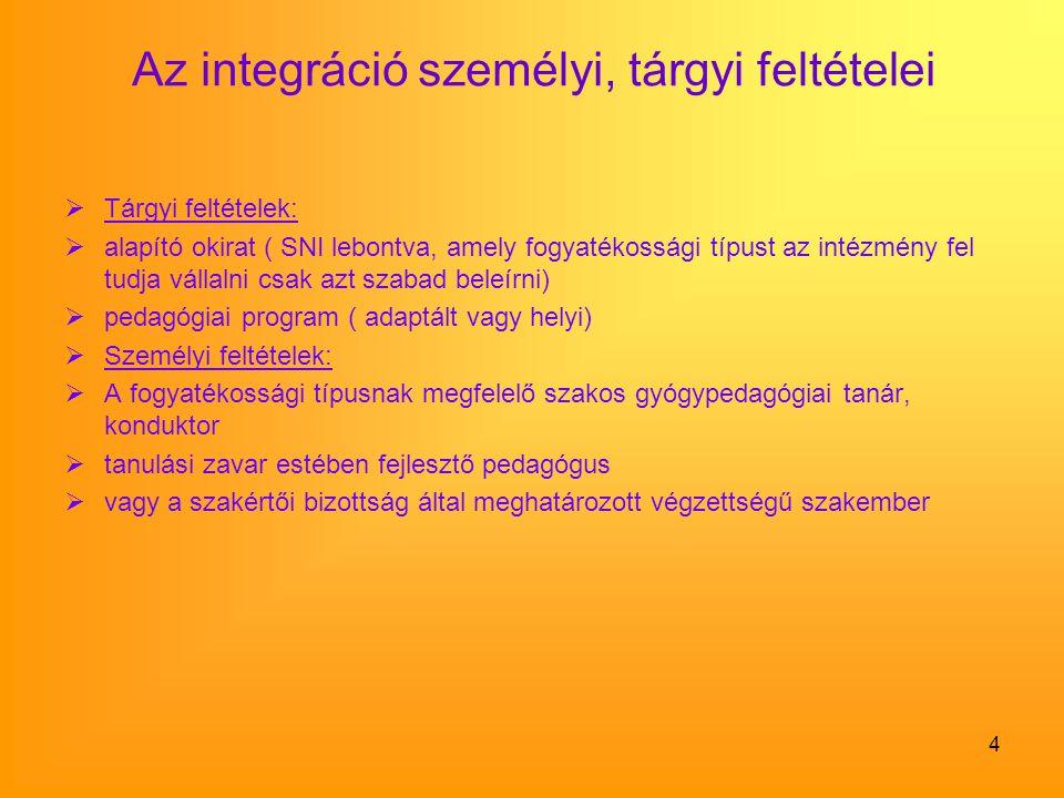 4 Az integráció személyi, tárgyi feltételei  Tárgyi feltételek:  alapító okirat ( SNI lebontva, amely fogyatékossági típust az intézmény fel tudja v