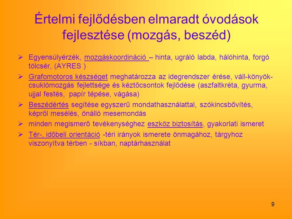 9 Értelmi fejlődésben elmaradt óvodások fejlesztése (mozgás, beszéd)  Egyensúlyérzék, mozgáskoordináció – hinta, ugráló labda, hálóhinta, forgó tölcs