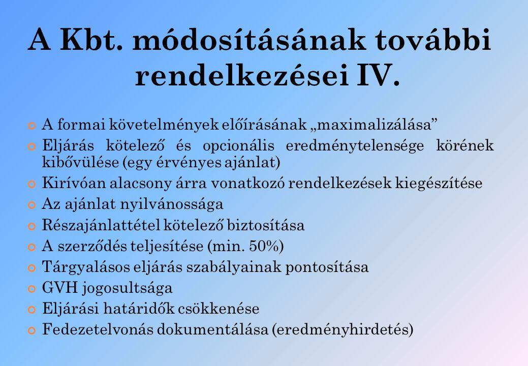 """A Kbt. módosításának további rendelkezései IV. A formai követelmények előírásának """"maximalizálása"""" Eljárás kötelező és opcionális eredménytelensége kö"""