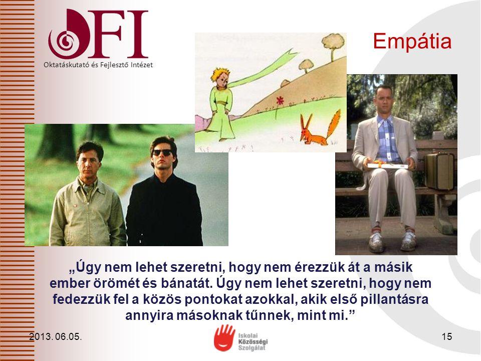 """Oktatáskutató és Fejlesztő Intézet Empátia 2013. 06.05.15 """"Úgy nem lehet szeretni, hogy nem érezzük át a másik ember örömét és bánatát. Úgy nem lehet"""