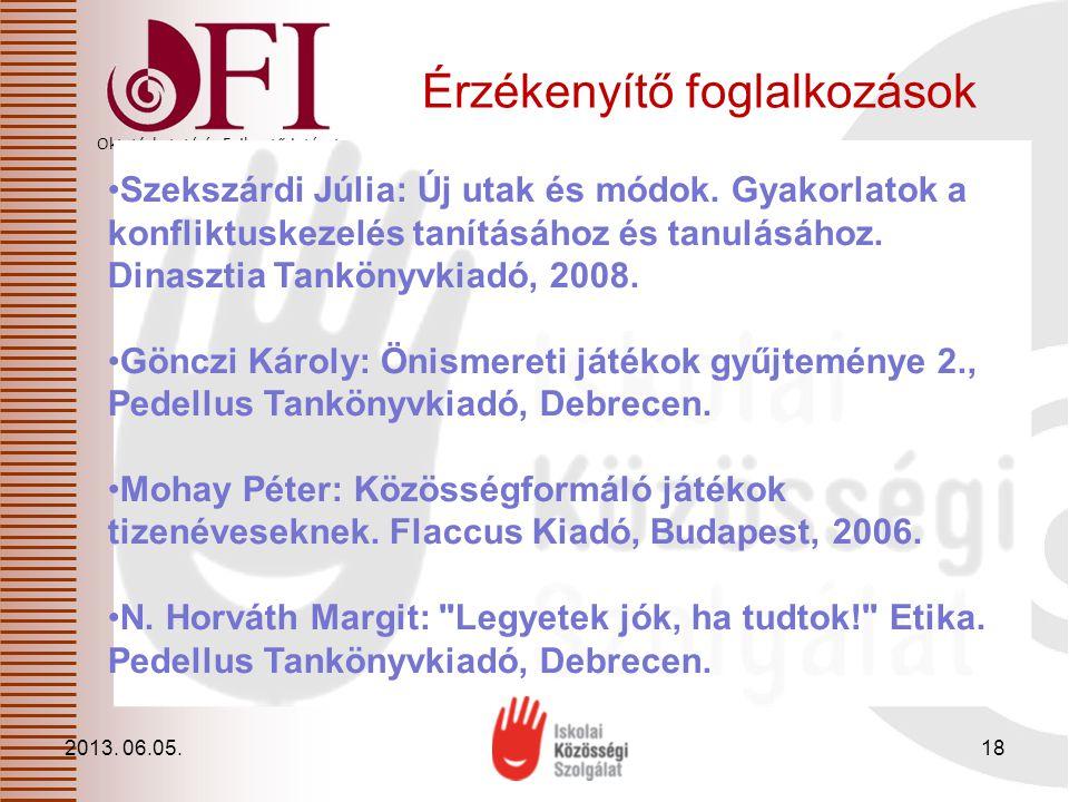 Oktatáskutató és Fejlesztő Intézet Érzékenyítő foglalkozások 2013. 06.05.18 Szekszárdi Júlia: Új utak és módok. Gyakorlatok a konfliktuskezelés tanítá