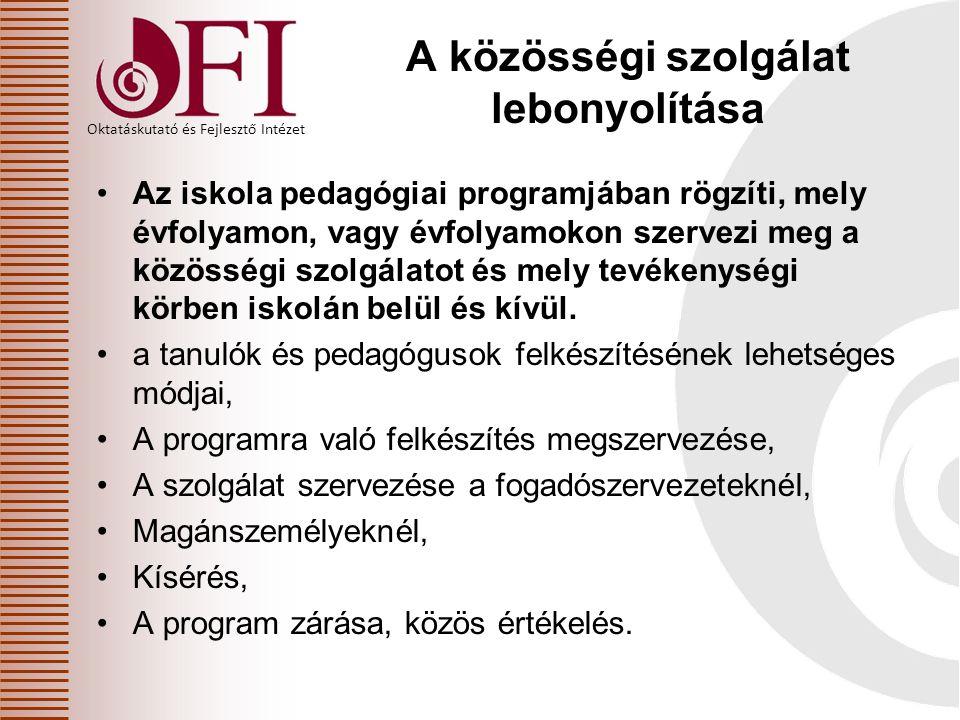 Oktatáskutató és Fejlesztő Intézet A közösségi szolgálat lebonyolítása Az iskola pedagógiai programjában rögzíti, mely évfolyamon, vagy évfolyamokon s