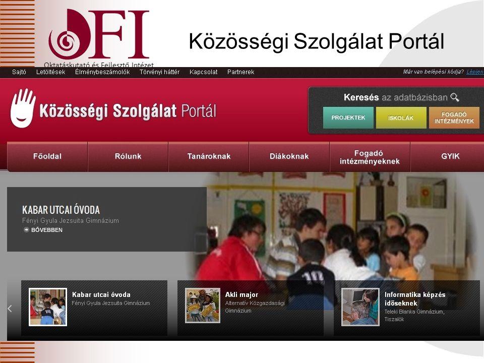 Oktatáskutató és Fejlesztő Intézet Közösségi Szolgálat Portál