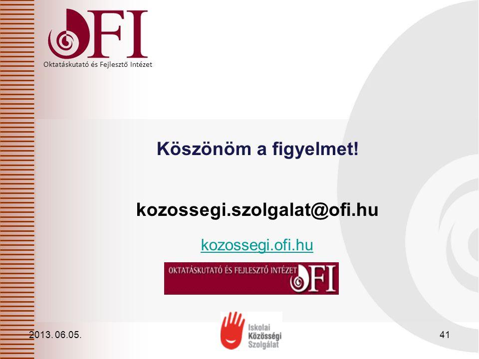 Oktatáskutató és Fejlesztő Intézet Köszönöm a figyelmet! kozossegi.szolgalat@ofi.hu kozossegi.ofi.hu 2013. 06.05.41