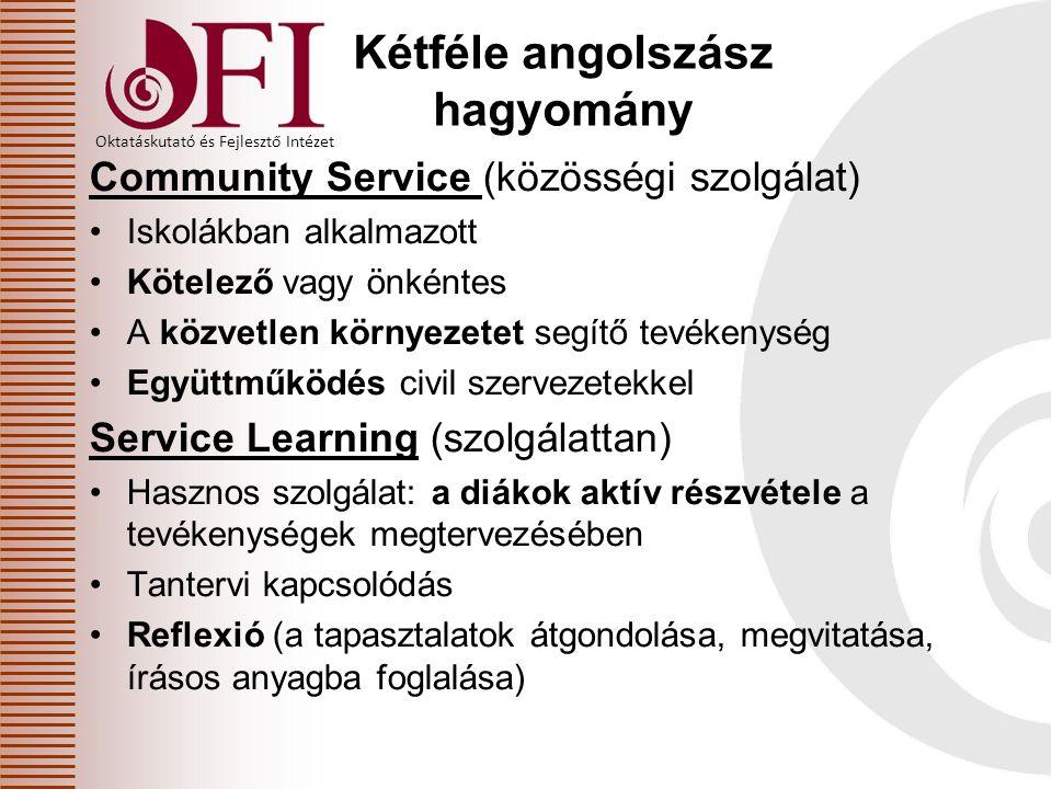 Oktatáskutató és Fejlesztő Intézet Kétféle angolszász hagyomány Community Service (közösségi szolgálat) Iskolákban alkalmazott Kötelező vagy önkéntes