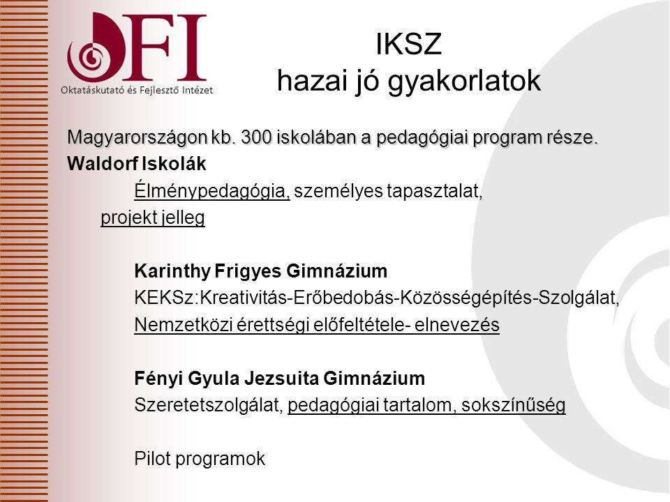 Oktatáskutató és Fejlesztő Intézet IKSZ hazai jó gyakorlatok Magyarországon kb. 300 iskolában a pedagógiai program része. Waldorf Iskolák Élménypedagó