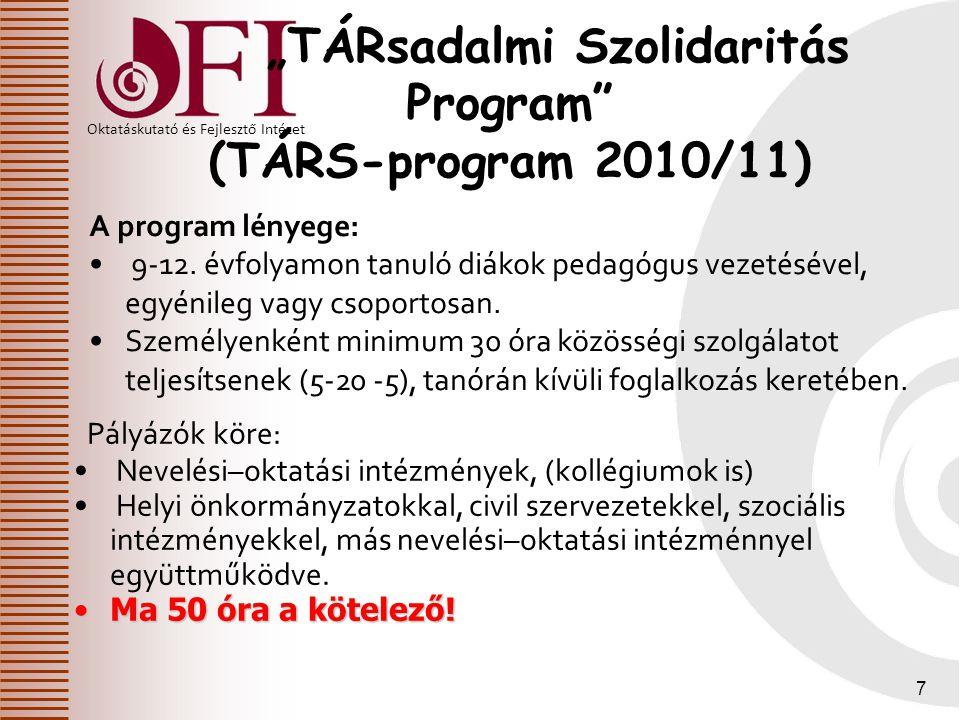 """Oktatáskutató és Fejlesztő Intézet 7 """"TÁRsadalmi Szolidaritás Program"""" (TÁRS-program 2010/11) Pályázók köre: Nevelési–oktatási intézmények, (kollégium"""