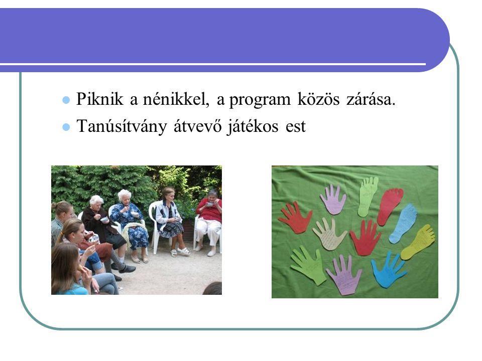 Piknik a nénikkel, a program közös zárása. Tanúsítvány átvevő játékos est
