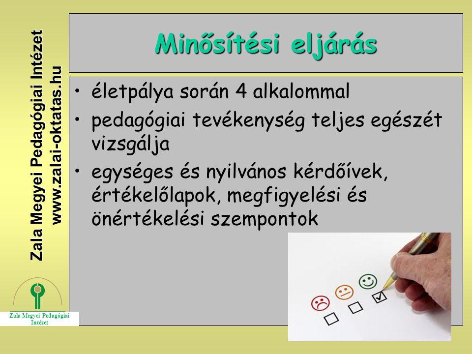 10 Minősítési eljárás életpálya során 4 alkalommal pedagógiai tevékenység teljes egészét vizsgálja egységes és nyilvános kérdőívek, értékelőlapok, meg