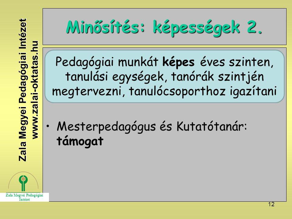 12 Minősítés: képességek 2. Mesterpedagógus és Kutatótanár: támogat Zala Megyei Pedagógiai Intézet www.zalai-oktatas.hu Pedagógiai munkát képes éves s