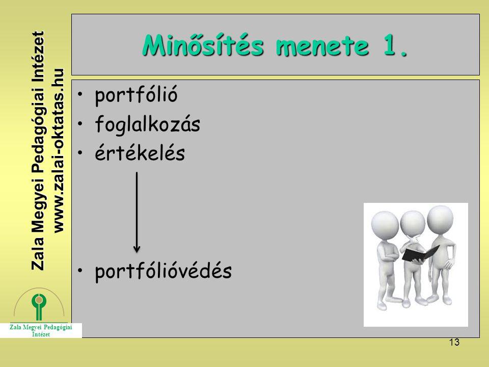 13 Minősítés menete 1. portfólió foglalkozás értékelés portfólióvédés Zala Megyei Pedagógiai Intézet www.zalai-oktatas.hu