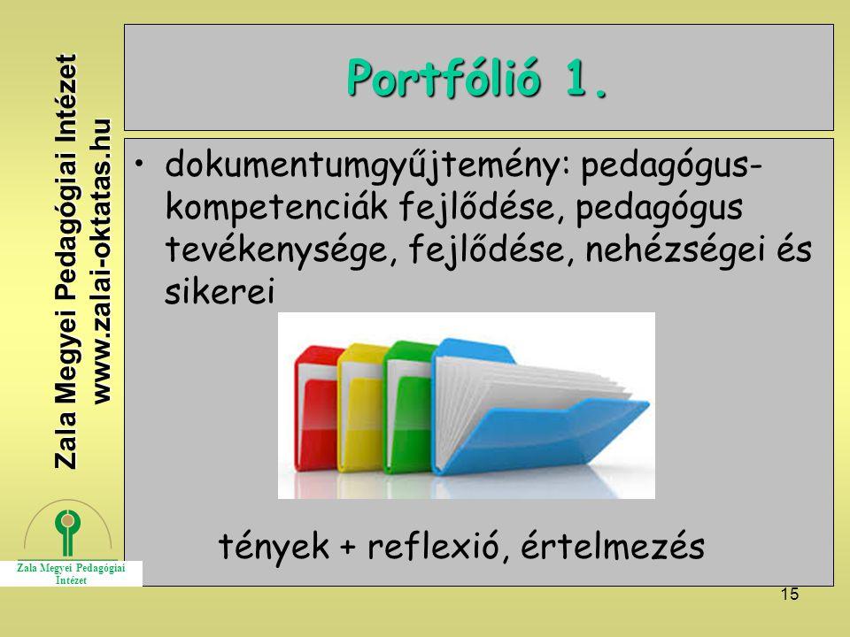 15 Portfólió 1. dokumentumgyűjtemény: pedagógus- kompetenciák fejlődése, pedagógus tevékenysége, fejlődése, nehézségei és sikerei tények + reflexió, é