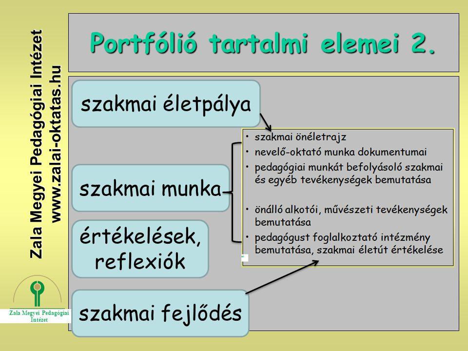 19 Portfólió tartalmi elemei 2. Zala Megyei Pedagógiai Intézet www.zalai-oktatas.hu szakmai életpálya szakmai munka értékelések, reflexiók szakmai fej