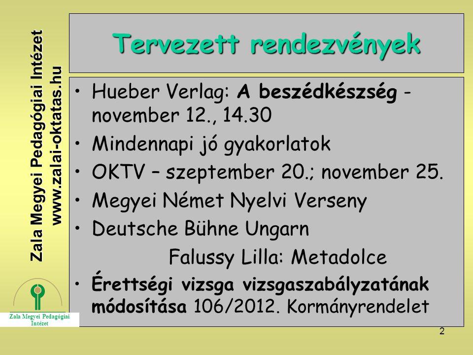 2 Tervezett rendezvények Hueber Verlag: A beszédkészség - november 12., 14.30 Mindennapi jó gyakorlatok OKTV – szeptember 20.; november 25. Megyei Ném
