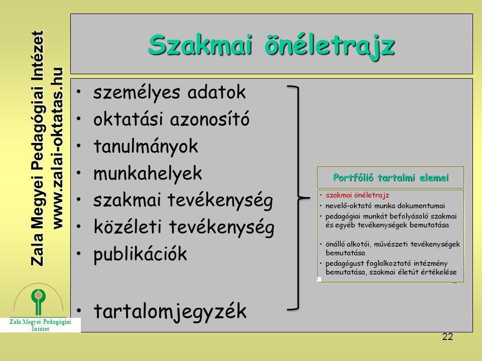 22 Szakmai önéletrajz személyes adatok oktatási azonosító tanulmányok munkahelyek szakmai tevékenység közéleti tevékenység publikációk tartalomjegyzék Zala Megyei Pedagógiai Intézet www.zalai-oktatas.hu